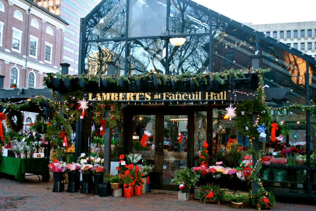 A festive Christmas shop outside of the market.