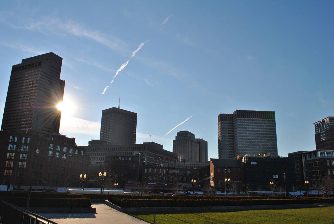 The boston skyline during the late afternoon.